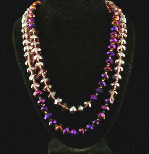 """Genuine Amethyst Gems Necklace/Bracelet 40"""" 160 Carat Two Color Violet & Clear"""