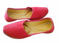 Men Shoes Indian Handmade Jutti Loafers Red Leather Mojari UK 8.5 EU 42