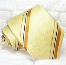 Cravatta regimental  gialla beige e marrone  TOP Quality NUOVA marca TRE seta