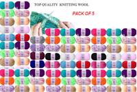 5 Packs Knitting Wool Yarn Soft Double Polyester Crochet 240m long x 100g