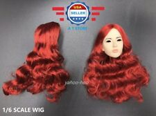 1/6 scale Curly RED Hair Wig for Female Head Sculpt Doll Accessory