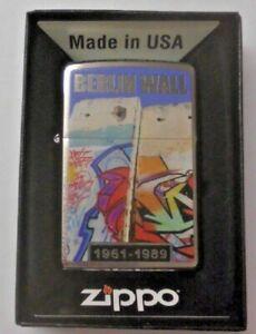 Zippo Feuerzeug Berlin Wall Mauerfall Chrome brushed persönliche Gravur wählbar