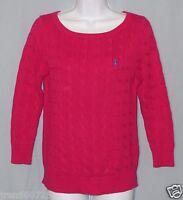 Women's Ralph Lauren Sport Sweater Size M Hot Pink Crew Neck Long Sleeve