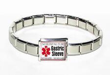 Gastric Sleeve Alert Bracelet Stainless Steel Italian Charm Bariatric Patient