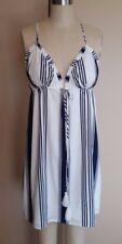 NWT FOREVER 21 WOMEN'S SZ M SPAGHETTI STRAP WHITE/BLUE STRIPED SHORT DRESS