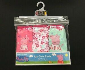 Peppa Pig Girls 3 Pack Briefs Underwear Pants Presentation Pack  2 3 4 5 6 Years