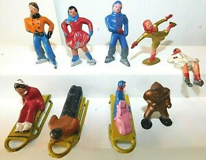 Old BARCLAY USA 1930s Dimestore Lead Winter Figures, Assorted Poses, 12 Pieces
