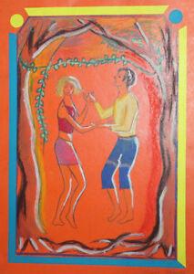 Fauvist pastel drawing portrait dancing couple portrait signed