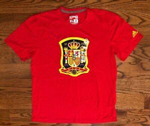 Spain Espana RFEF Soccer Logo adidas CLIMALITE Red T-Shirt Size Men's XL NWT