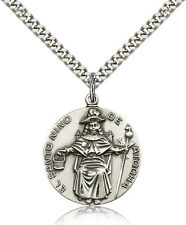 "Saint Nino De Atocha Medal For Men - .925 Sterling Silver Necklace On 24"" Cha..."