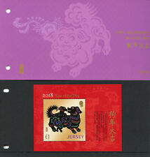 Jersey 2018 MNH Year of Dog 1v M/S Pres Pack Dogs Chinese Lunar New Year Stamps
