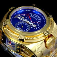 Invicta Bolt Zeus Tria Gold Plated Steel Blue 3 Swiss Mvt Dials 52mm Watch New