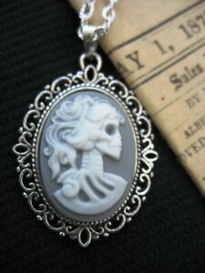 Grey/Wh Gothic Punk Skull Skeleton Lady Cameo Pendant Silver Necklace Halloween