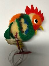 """2.5"""" Vintage Steiff Colorful Wool Made Woolie Bird Rooster Chicken Has Tags #X B"""