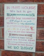 In this house we let it go disney phrase quotes sign plaque new design