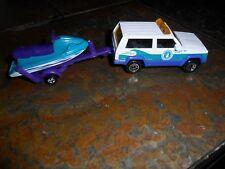 2 LOT MATCHBOX JEEP CHEROKEE WATER WORKS TRUCK SUV & WATERCRAFT W/ TRAILER MINT