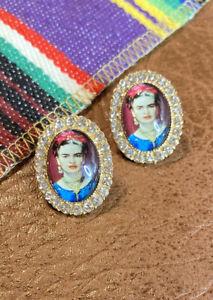 Frida Kahlo Earring Set Gold/ Rhinestone Crystals