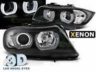 Pair 3D Angel Eyes Projector Headlights for BMW E90 E91 05-08 Black D1S Xenon HI
