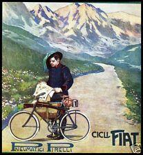 PUBBLICITA'1911 BICICLETTE FIAT GOMME PIRELLI BERSAGLIERE CICLISTA MONTAGNA ALPI