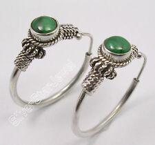 "925 Sterling Silver Beautiful MALACHITE TRIBAL ETHNIC INDIA HOOP Earrings 1.2"""
