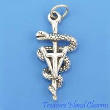 VETERINARY TECHNICIAN VET TECH CADUCEUS 3D .925 Solid Sterling Silver Charm