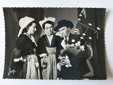 Dinan Brittany France Vintage B&W Postcard c1960s Costume & Piper
