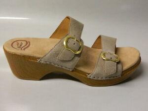DANSKO Women's 2 Strap Sandal Shoes Platform Wedge Leather Tan Sz 41 9.5-10 NEW