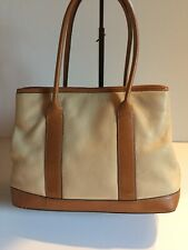 Ann Taylor Pebbled Leather Two Toned Tan Brown Classic Styled Satchel