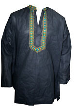 Indian Cotton Men's Shirt Kurta loose fit Embroidered Black Solid