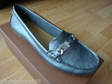 NIB NEW Women COACH OLIVE FLAT LOAFER Leather Shoes WARM PEWTER 7.5