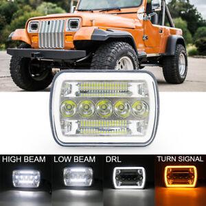"7X6"" LED Headlight Projector 5x7 Hi-Lo Sealed Beam Lamp DRL DOT H4 Plug&Play"