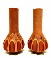 Rare Handcrafted Bamboo Vases or Candle Holders Unique Home Decor 8 inches Tall