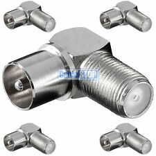 5 x RIGHT ANGLE MALE COAX to F TYPE FEMALE SOCKET TV Aerial Sky Connector