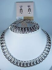 Earring with Swarovski Crystals 0837 D'Orlan Rhodium Plated Necklace, Bracelet,