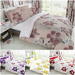 POPPY DUVET COVER SET RED FLORAL PRINTED BEDDING REVERSIBLE QUILT DOUBLE KING