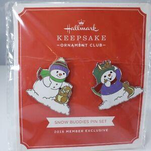 Hallmark Keepsake Ornament Club Snow Buddies Enamel Pin Set of 2 Snowman KOC