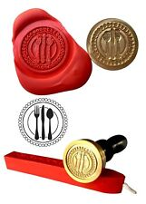 Wax Stamp, CUTLERY Kitchen Food Design and Red Wax Stick XWSC175-KIT