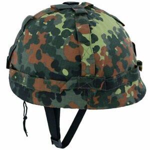 MFH US Helm Kunststoff mit Ripstop Stoffbezug Größenverstellbar Flecktarn Camo
