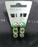 NEW PILGRIM SILVER PLATED EARRINGS GREEN SWAROVSKI CRYSTALS ENAMEL FLOWERS GEO