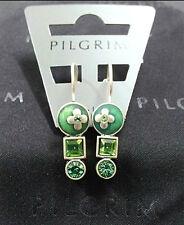 NEW PILGRIM SILVER PLATED EARRINGS GREEN SWAROVSKI CRYSTALS ENAMEL FLOWERS GEO