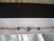Women Ocean Blue Crystal Rhinestone Heart Bangle Bracelet in gift box