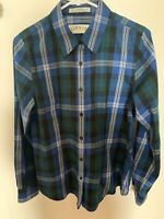 Orvis size small women's long sleeve button down blue plaid shirt