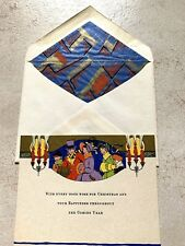 Vintage Greeting Card & Envelope Christmas Art Deco 1920s Family New