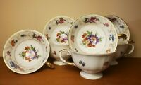 Set of 7 Franconia-Krautheim Dresden Flowers Gold Trim Footed Teacups