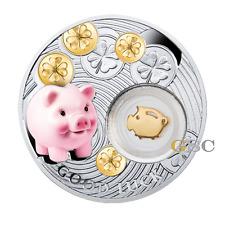 Niue Island 2014 1$ Schwein Schweinchen Lucky Coins Glücksbringer Silbermünze