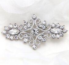 Wedding Dress Sash Bridal Rhinestone Crystal Vintage Style Brooch Pin