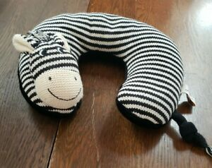 Maison Chic Black/White Zebra Travel Neck Pillow for Infant Baby Head Support