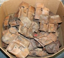 YUGOSLAVIAN ARMY M48 MAUSER JNA LEATHER DUO AMMO POUCH ALL HEAVY USED