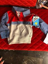 Vintage Baby Collar Shirt 18 Months Blue & Red Just Growing 1980's New!
