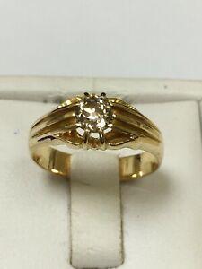 Superb Antique 18 Carat Yellow Gold GENTS GYPSY DIAMOND SET Ring 0.60ct